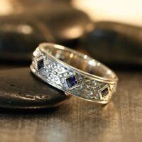 1Ct Princess Cut Blue Sapphire Bezel Carved Antique Ring White Gold Finsh Silver