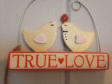 Shabby Chic Decorative Hanging Birds 'TRUE LOVE'