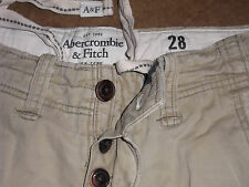 ABERCROMBIE & FITCH SHORTS CHINO PREP BUTTON FLY BEIGE MEN'S 28