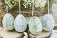 GISELA GRAHAM EASTER COUNTRY PATCHWORK GREEN BLUE FABRIC EGG DECORATION X 4