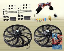 "2x 14"" Electric Universal Cooling Tornado Slim Fan + Thermostat Relay Kit"