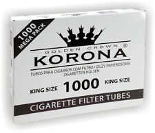 GOLDEN CROWN KORONA Empty Cigarette Filter Tubes King Size 1 BOX 1000ct.