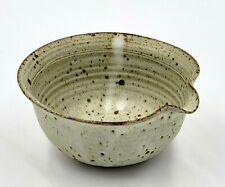 Vintage Stoneware Studio Art Pottery Tan & Brown Glaze Bowl with Spout - Signed