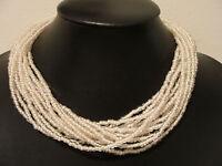 "Vintage Robert DeMario white seed bead necklace multi strand 17""-19.75"""