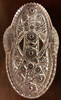 VINTAGE ABP CUT GLASS SAWTOOTH EDGE MULTIPLE CUT DESIGN OVAL RELISH /CANDY DISH
