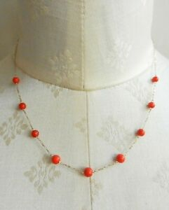 Vintage 9 ct Gold Chain and Red Coral Beads Necklace