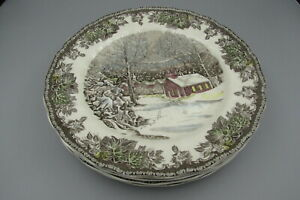 Johnson Brothers China FRIENDLY VILLAGE School House Dinner Plates - Set of Four