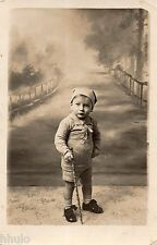 BJ379 Carte Photo vintage card RPPC Enfant bébé mode fashion décor peint toile