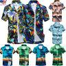 Summer Men Hawaiian Print Short T-Shirt Sports Beach Quick Dry Blouse Top Blouse