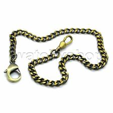 """14"""" Copper Link Pocket Watch Chain Brass Fob Chain Lobster Clasp Men Gift FC33"""