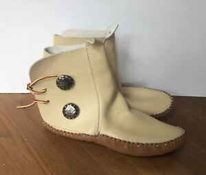 """Vintage Taos Indian Maid Leather Ankle Moccasins Bootie 9"""" Insole Women's 7"""