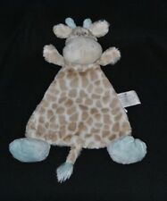 Peluche doudou girafe plat DEMDACO Nat & Jules beige brun bleu crème grelot TTBE