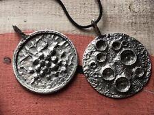 Danish Mod Poul Warmind Denmark Signed Pewter Massive Necklace Pendant Pair
