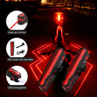 USB Rechargeable Bicycle Taillight Bike Laser Rear Light Cycling Warming Lights
