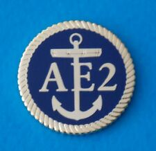 HMAS AE2 SUBMARINE LAPEL BADGE ENAMEL & GOLD PLATED 25MM DIA WITH 1 PIN RAN SUB
