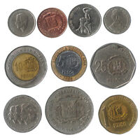 DIFFERENT 10 DOMINICAN REPUBLIC COINS FROM CARIBBEAN ISLAND OLD COLLECTIBLE CASH