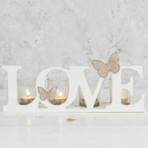 Botanica Wood & Glass Sentiment Tea Light Candle Holder - Love