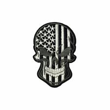 Black White America Stars Stripes Skull (Iron On) Embroidery Applique Patch
