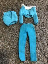 Vintage Barbie Francie Blue Knitted Vest Sweater White Fur Trim Blue Pants