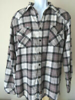 Vintage Retro Gray Grey DICKIES FLANNEL Men's Button Down Shirt Long Sleeve
