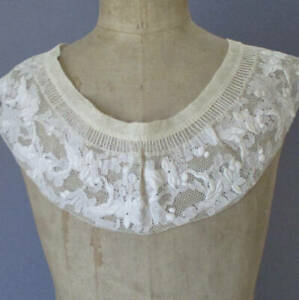 Antique 19thC Handmade LACE Collar WHITEWORK Ayrshire Hand Embroidery w Muslin
