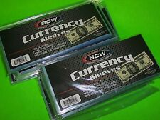 1000 BCW CURRENCY SLEEVES, 2 MIL THICK, ACID FREE, FOR U.S. & OTHER CURRENCY