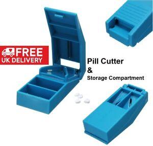 NEW 2019 Portable Tablet Pill Splitter Medicine Cutter Quarter Compartment Box