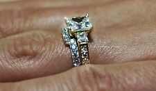 3.00 CTW Three-Stone Wedding Engagement Set Two-Toned Real 14k White Yellow Gold