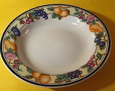 "Oneida China Set of 2 Dinner Soup Bowls Orchard 8"" Diameter 1 1/4"" Deep Fruit"