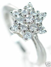 Solid 925 Sterling Silver Clear CZ Star Cluster Flower Ring Sz.-6 '