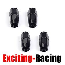 4PCS AN6 6-AN Straight Swivel Fuel Oil Gas Line Hose End Fitting Adaptor Black