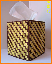 BROWN GOLD HANDMADE PLASTIC CANVAS TISSUE BOX COVER TOPPER