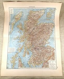 1906 Antique Map of Scotland The Scottish Highlands Old LARGE GERMAN Lithograph
