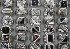 Newest Mix Lots 25pcs Crystal Rhinestone Big Silver Plated Men's Trendy rings