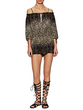 Free People Womens So Divine Romper Smocked Paisley Size Small