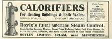 1926 Royles Ltd Irlam Manchester Automatic Steam Control Old Advert
