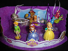 Disney Authentic Sofia the First Christmas Ornaments 6 Figure Princess Set Gift