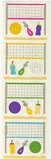 Mrs. Grossman's Stickers - Volleyball - Net, Sand, Whistle, Bottle - 4 Strips