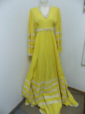 1970s Tachi Castillo Long Dress Yellow Pin Tucks with Lace Wedding Dress Size 10