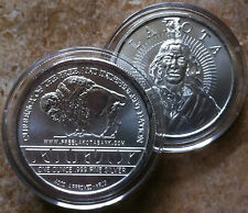 1oz.~.999 FINE SILVER~LAKOTA~INDIAN CRAZY HORSE~BUFFALO~Coin Round Medallion