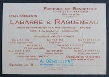 Carte de visite LABARRE & RAGUENEAU socquette fortisa colibri old visit card