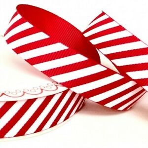 Berties Bows - Red Candy Stripe Ribbon 25mm Wide