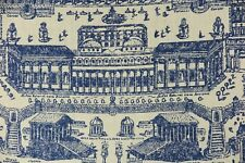 """ZOFFANY CURTAIN FABRIC DESIGN """"Rome"""" 3.1 METRES TAUPE AND INDIGO 100% LINEN"""