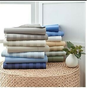 Top Quality Bedding Collection 1000TC Egyptian Cotton Twin Size Striped Colors