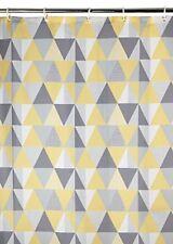 *NEW* Shower Curtain Waterproof Geometric Yellow Grey Print Bathroom Polyster