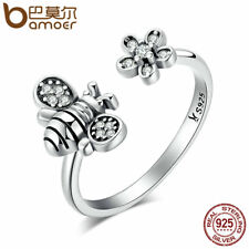 Bamoer real .925 Sterling Silver Ring With Clear CZ cute bee For Women Jewelry