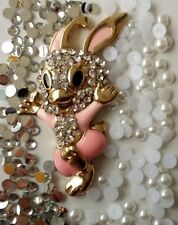 NEW Pink Rabbit 3D DIY Mobile Cell Phone Case Alloy Crystal  Deco Den Kit  AA194