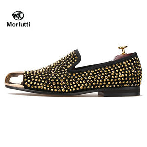 Merlutti Gold Toe And Gold Crystals Leather Men Loafers Flats