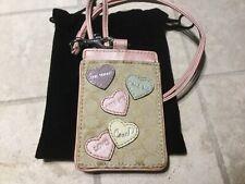NEW COACH Pink/Khaki Multicolor Heart Lanyard ID Holder/Case/Badge Holder