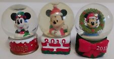 Lot of 3 2009-2011 DISNEY MICKEY MOUSE MINI SNOW GLOBES JC PENNEY CHRISTMAS